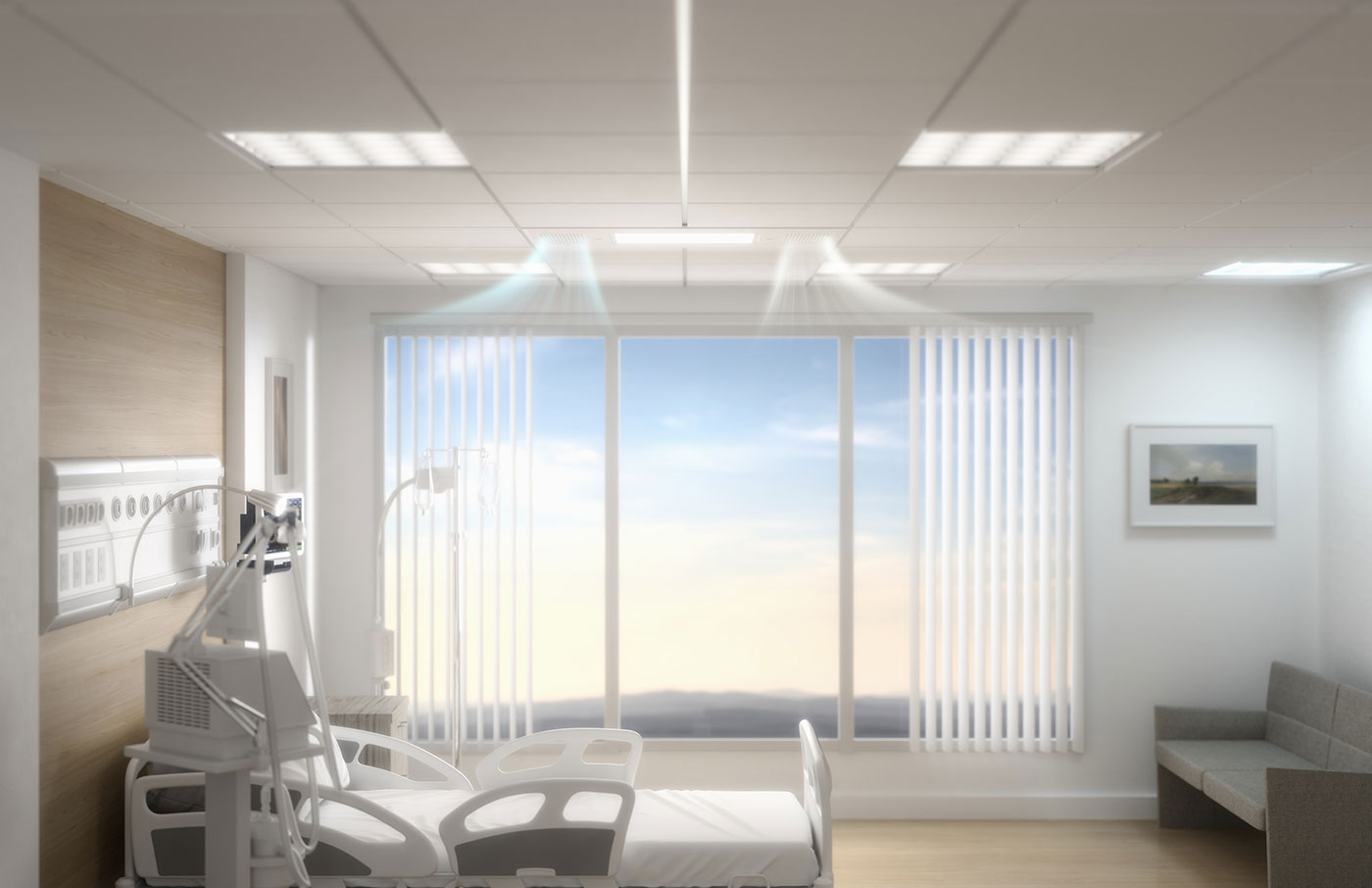 hospital room with clean air filtration system