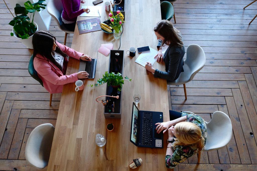 three women meeting