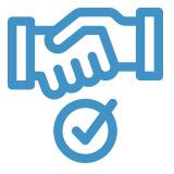 handshake and checkmark icon